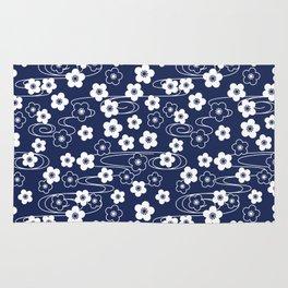 Blue Sakura Kimono Pattern Rug