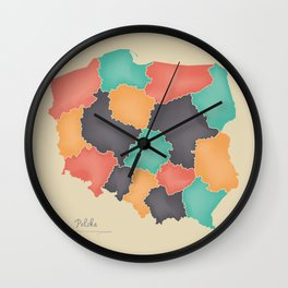 Poland map artwork 3D color illustration Wall Clock