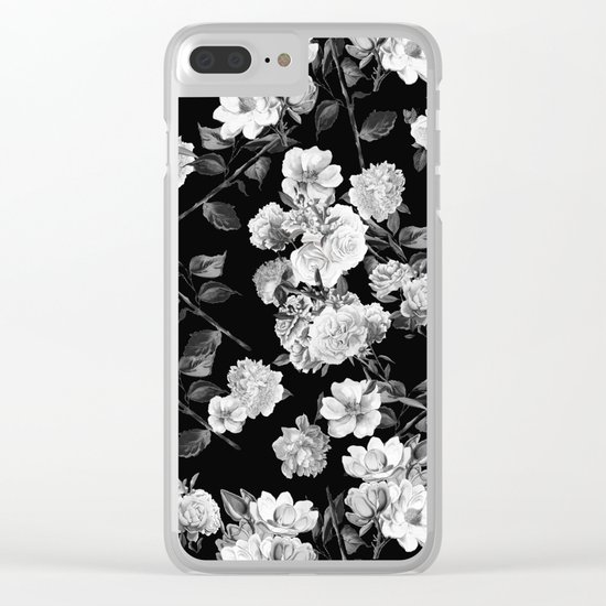 Black and White Botanic Pattern Clear iPhone Case