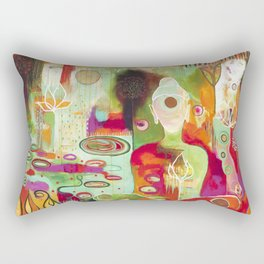 """""""Rooted In Love"""" Original Painting by Flora Bowley Rectangular Pillow"""
