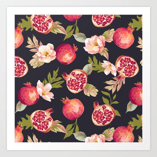 Pomegranate patterns - floral roses fruit nature elegant pattern Art Print
