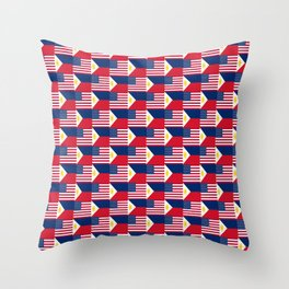 Mix of flag : philippines and Usa Throw Pillow