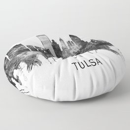 Tulsa Oklahoma Skyline BW Floor Pillow