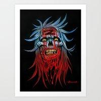 "Zombie - Blue ""Z"" Head Art Print"