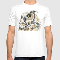 Owl Great Horned Bird of Prey Owls Animals Bird Wildlife Mens Fitted Tee White MEDIUM