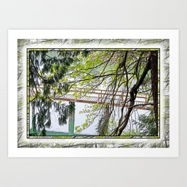 RAINY SPRING DAY AT THE DOCK IN THE WOODS Art Print