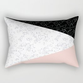 Patchwork pink and marble Rectangular Pillow