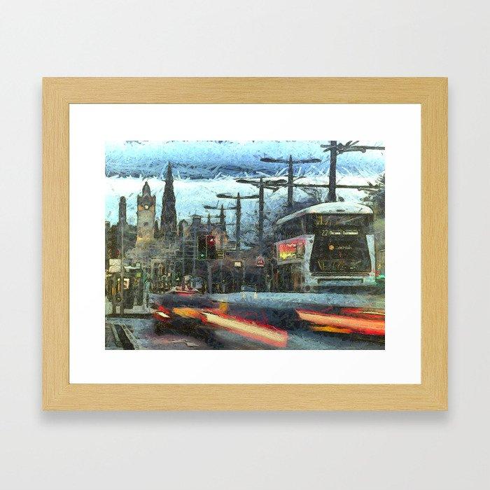 Edinburgh Night Bus Framed Art Print