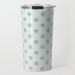 Mint and gray polka dots Travel Mug
