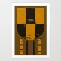 hufflepuff Art Prints featuring hufflepuff crest by nisimalotse