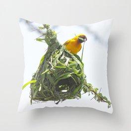 Speke's Weaverbird Building a Nest Throw Pillow