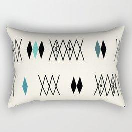 Retro Atomic Era Diamonds Pattern Turquoise Rectangular Pillow