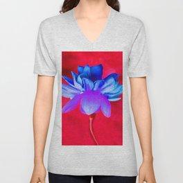 Blue Flower Unisex V-Neck