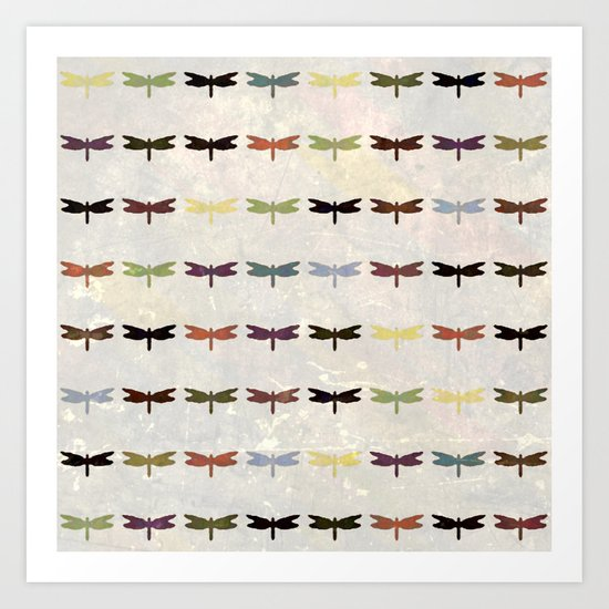 Dragonfly pattern v3 Art Print