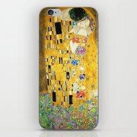 gustav klimt iPhone & iPod Skins featuring Gustav Klimt The Kiss by Art Gallery