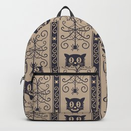 Happy halloween black cat and web with spider pattern Backpack