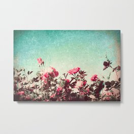 Pink roses on textured blue sky (vintage nature photography) Metal Print