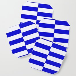 Blue And White Rectangular Checkered Pattern Coaster