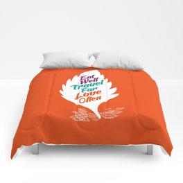 eat well travel far love often Comforters