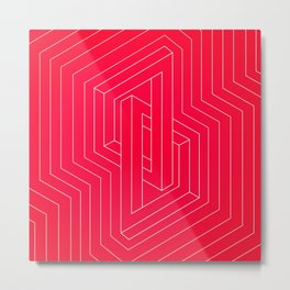 Modern minimal Line Art / Geometric Optical Illusion - Red Version  Metal Print