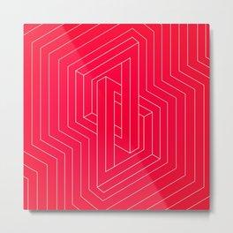 Modern minimal Line Art / Geometric Optical Illusion - Red Version  Metal Print