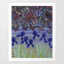 midnight frogs with irises and butterflies Art Print
