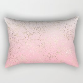 Pink White Ombre Speckled Gold Flakes Rectangular Pillow