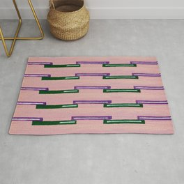 Pink Green Rectangles Ornaments Japanese Shima-Shima Pattern Rug