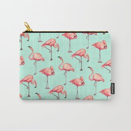 Flamingo Pattern - Blue Carry-All Pouch
