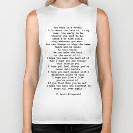 For what it's worth by F Scott Fitzgerald #minimalism #poem Biker Tank
