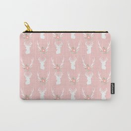 Deer head silhouette with antler flower floral bouquet minimal nursery home decor Carry-All Pouch