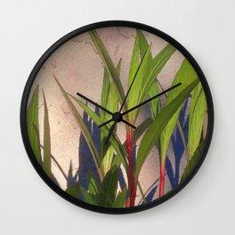 Long Green Leaves and Shadows Wall Clock