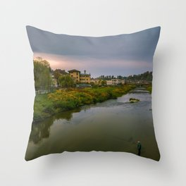 Evening at the river Throw Pillow