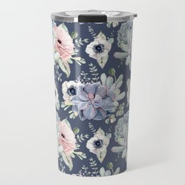 Beautiful Succulent Garden Navy Blue + Pink Travel Mug