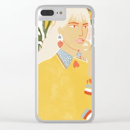 Heart on her sleeve Clear iPhone Case
