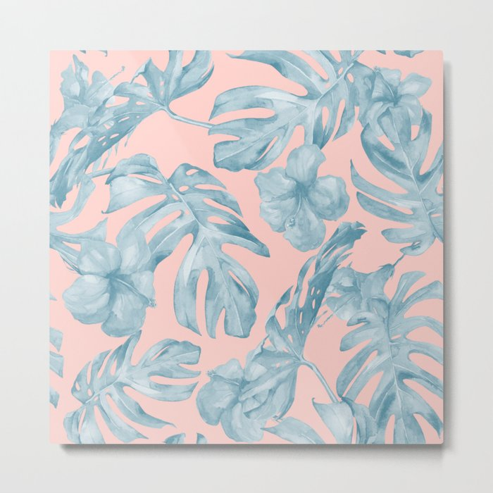 Island Life Pale Teal Blue on Millennial Pink Metal Print