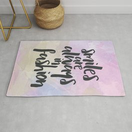 Smiles In Fashion Quote Rug