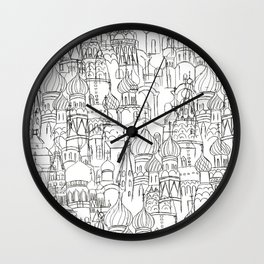 Russian cathedral church line drawing Wall Clock