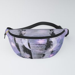 ELEPHANT AND LILAC PURPLE VIOLET BLOSSOMS Fanny Pack