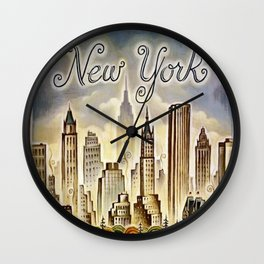 Vintage New York Central Park United Airlines Advertisement Poster Wall Clock