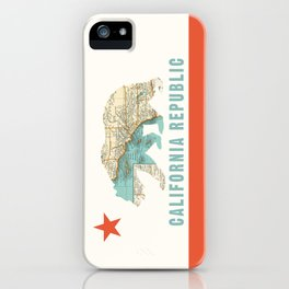 California Bear Flag with Vintage Map iPhone Case