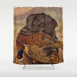 Vintage Chocolate Lab Hunting Shower Curtain