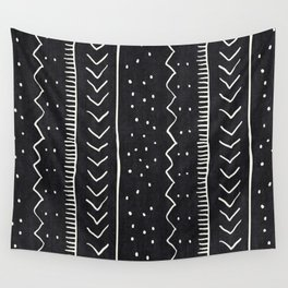 Moroccan Stripe in Black and White Wall Tapestry