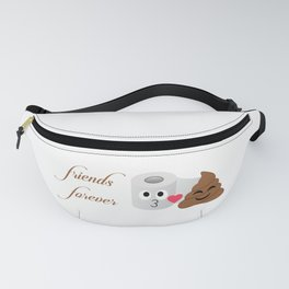 Toilet tissue and poop emoji friends forever Fanny Pack