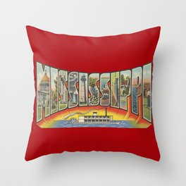 Vintage Big Letter Mississippi with Steam Boat Throw Pillow