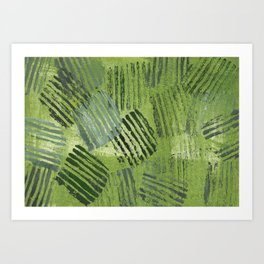 Green striped abstraction Art Print