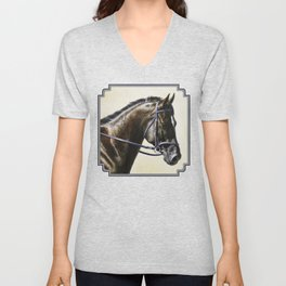Dark Bay Dressage Horse Portrait Unisex V-Neck