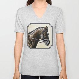 Dark Bay Dressage Horse Portrait Unisex V-Neck