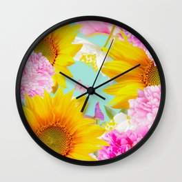 Summer Vibes With Colorful Flowers #decor #society6 #buyart Wall Clock