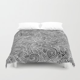 Grey and white swirls doodles Duvet Cover